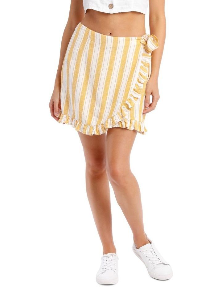 Linen Blend Wrap Frill Skirt image 1
