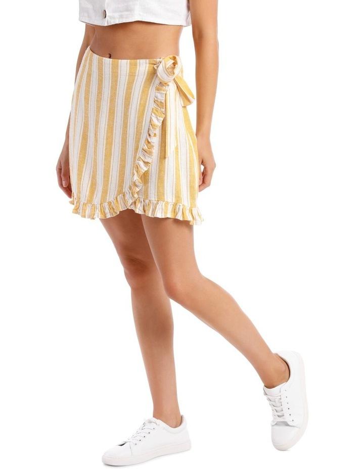 Linen Blend Wrap Frill Skirt image 2
