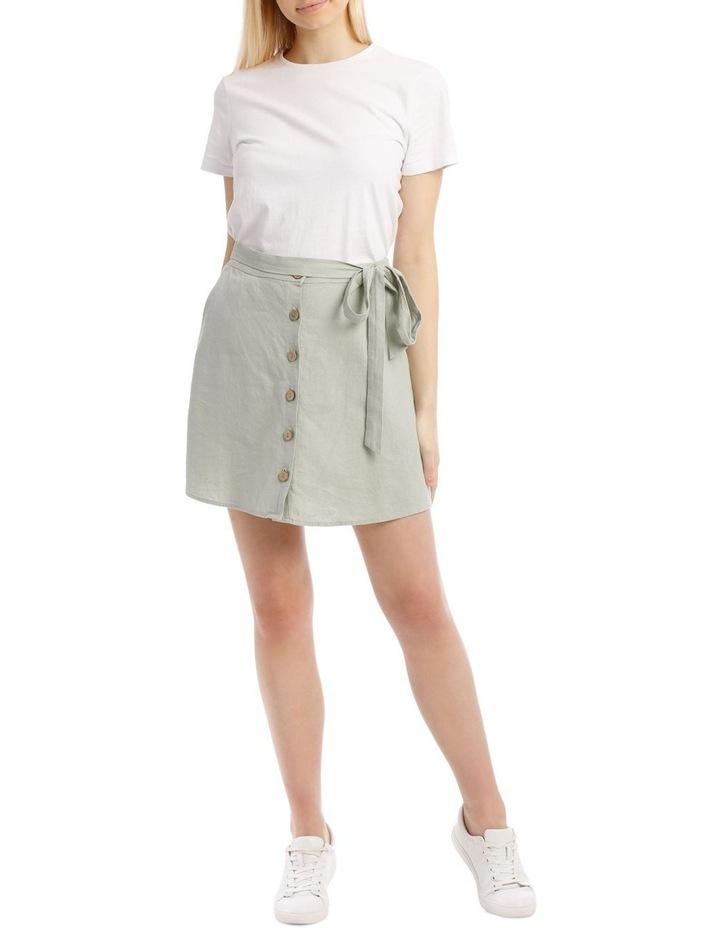 Tie Waist Button Thru Linen Skirt image 1