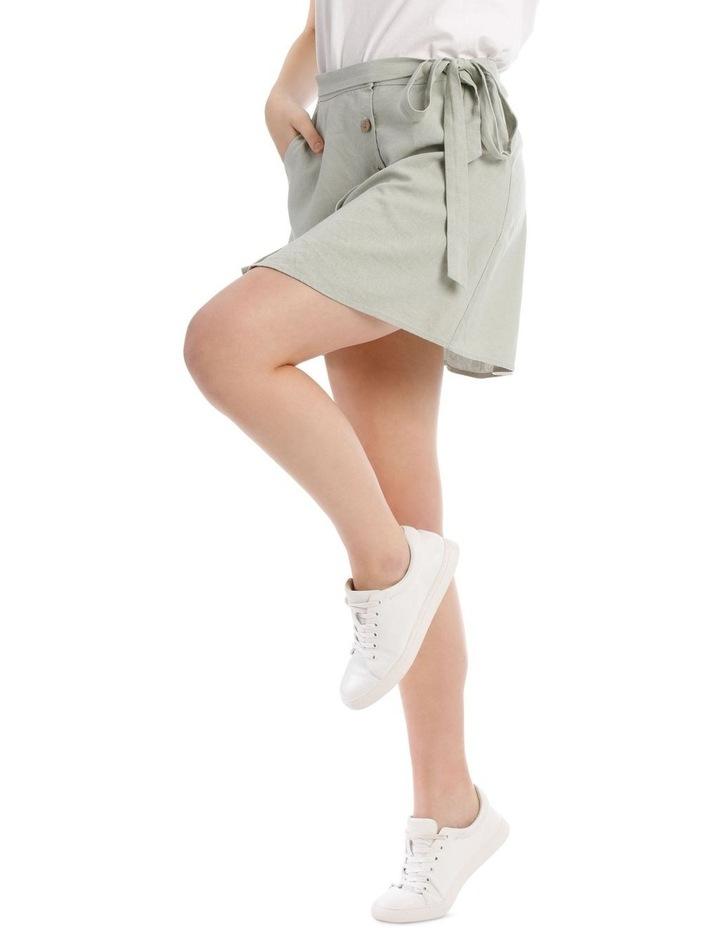 Tie Waist Button Thru Linen Skirt image 2