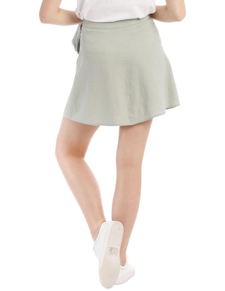 Tie Waist Button Thru Linen Skirt image 3