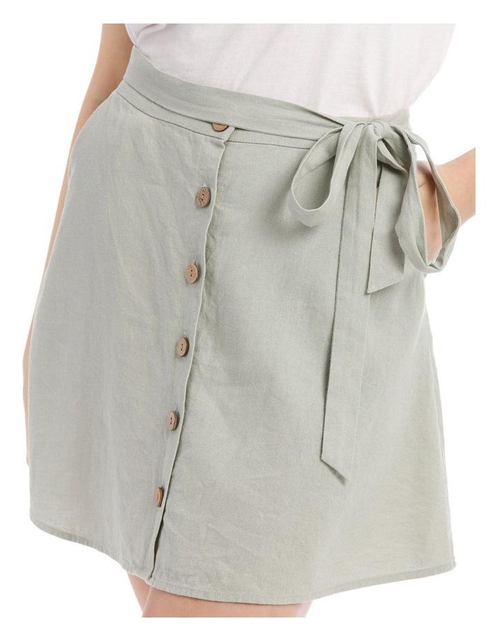 Tie Waist Button Thru Linen Skirt image 4
