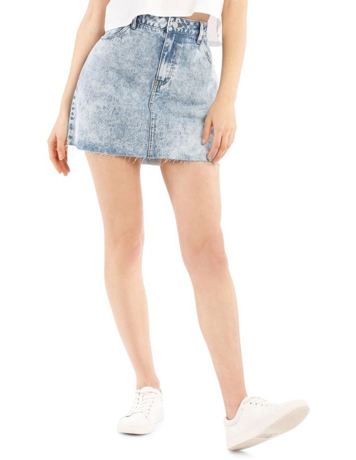 Raw Edge Denim Skirt - Acid Wash image 1