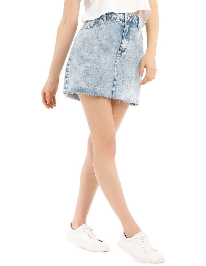 Raw Edge Denim Skirt - Acid Wash image 2