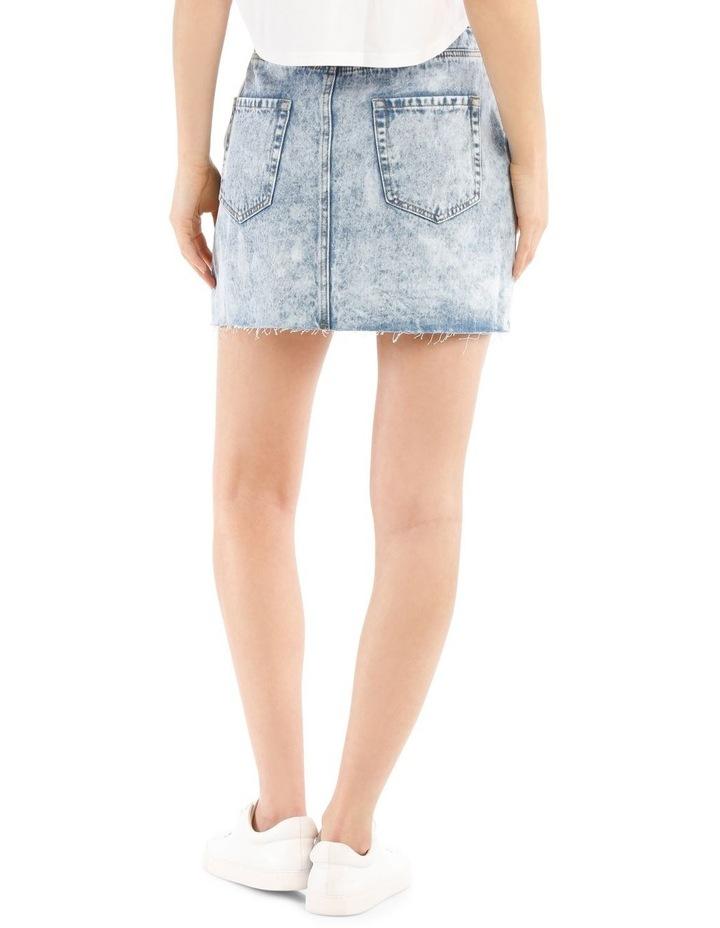 Raw Edge Denim Skirt - Acid Wash image 3