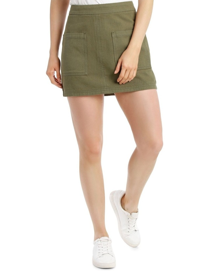 Pocket Detail Denim Skirt in Khaki image 1