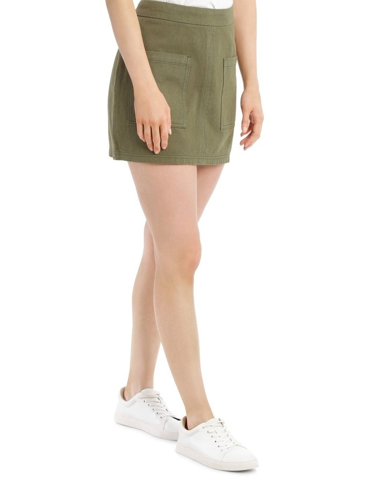 Pocket Detail Denim Skirt in Khaki image 2
