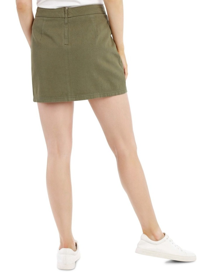 Pocket Detail Denim Skirt in Khaki image 3