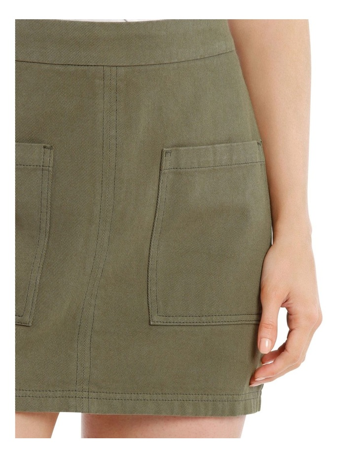 Pocket Detail Denim Skirt in Khaki image 4