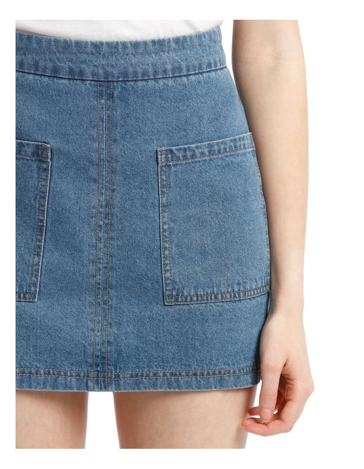 Pocket Detail Denim Skirt in Blue image 4