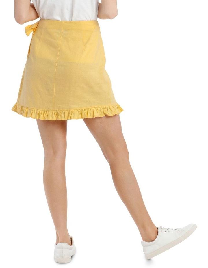 Linen Blend Wrap Frill Skirt image 3