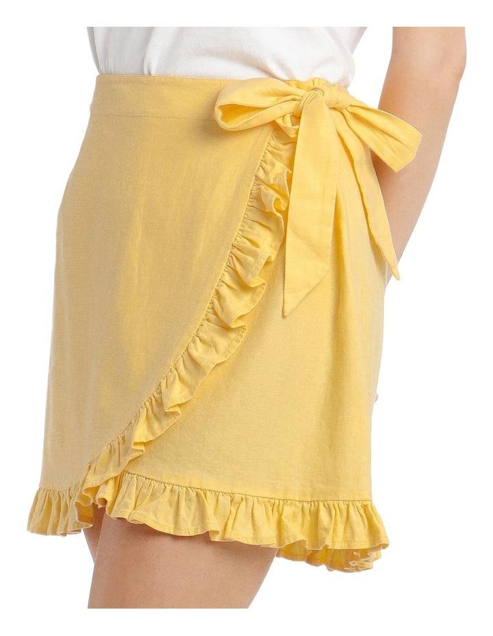 Linen Blend Wrap Frill Skirt image 4
