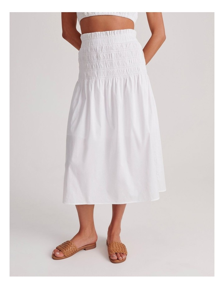 Shirred Midi Skirt in White image 1