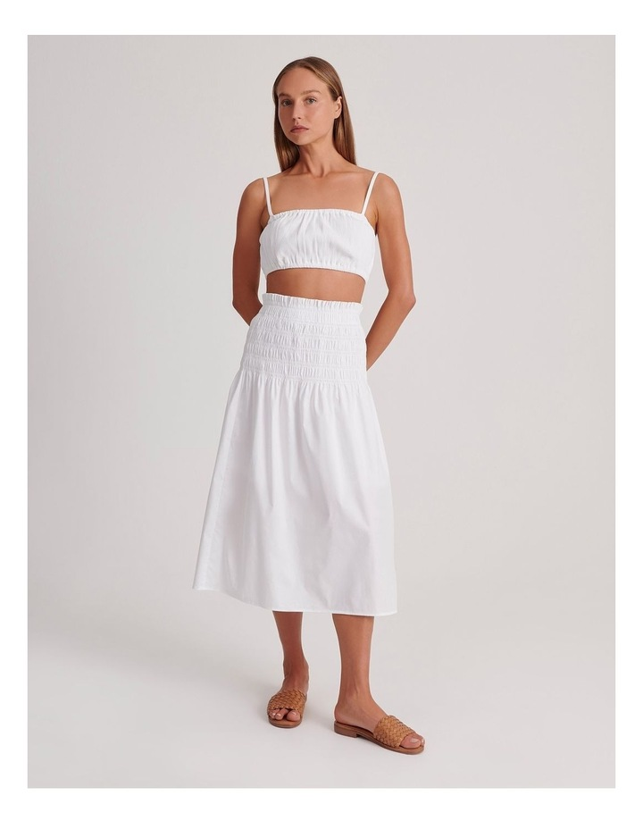 Shirred Midi Skirt in White image 2
