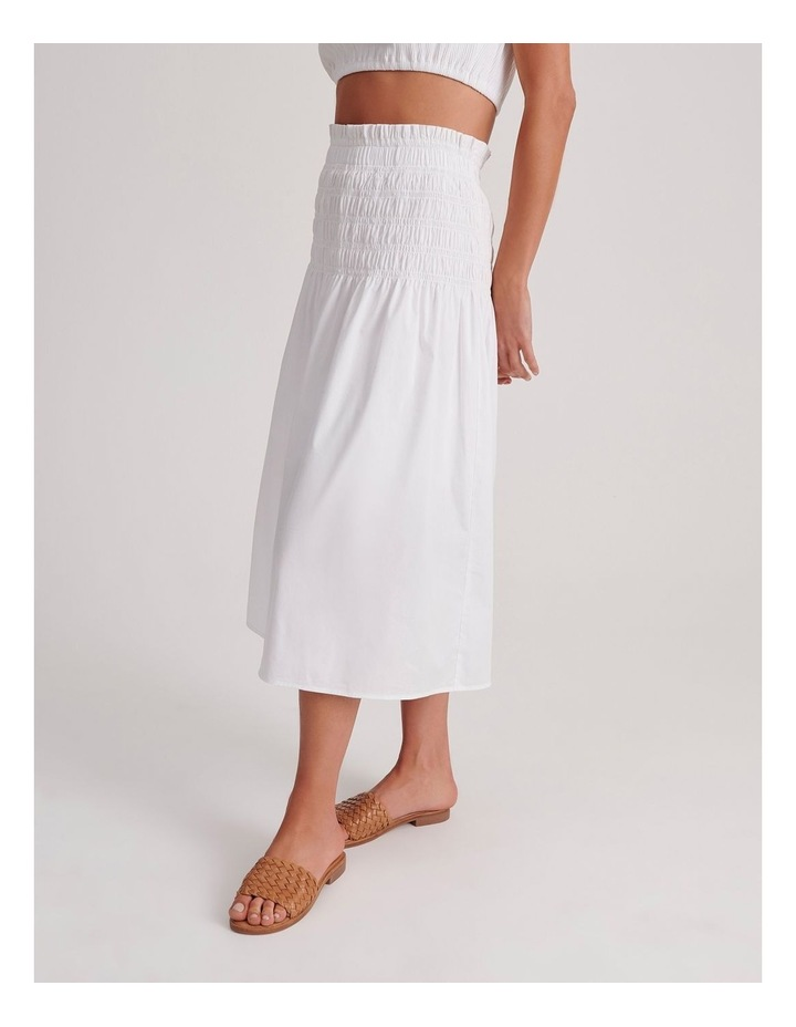 Shirred Midi Skirt in White image 3