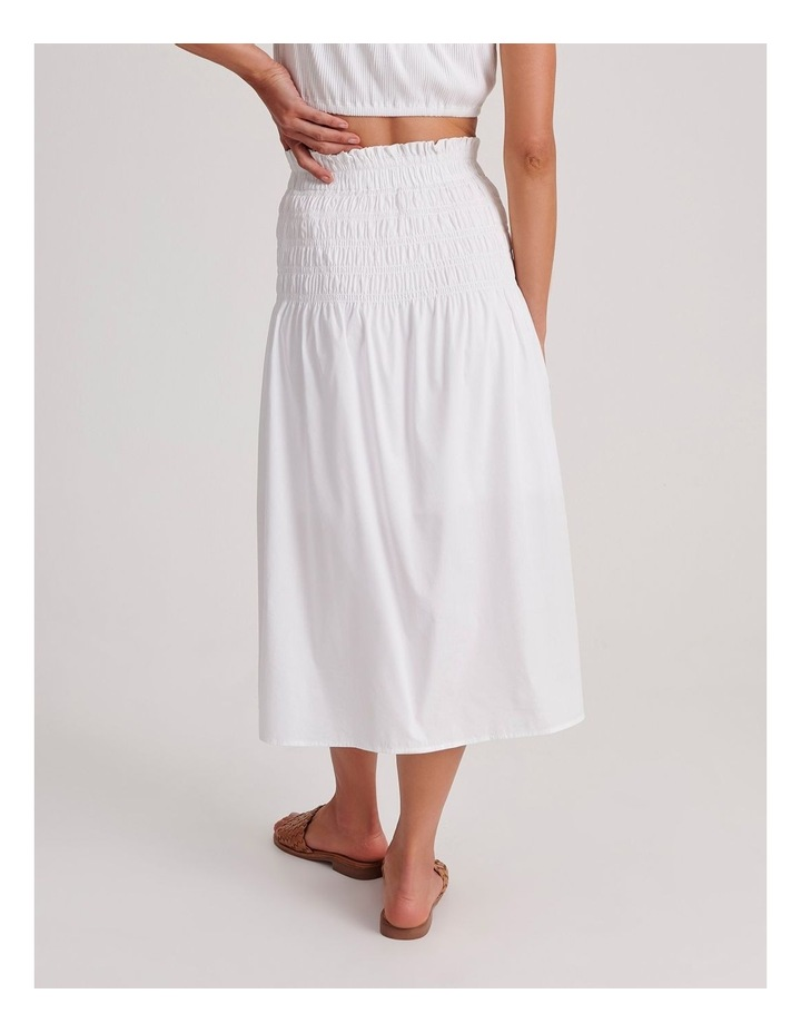 Shirred Midi Skirt in White image 4