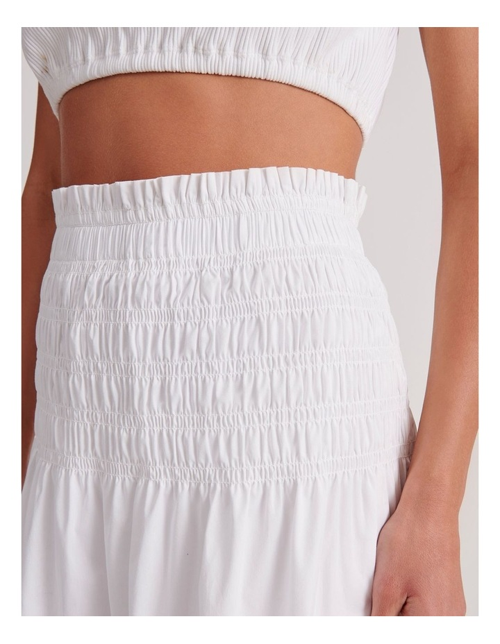 Shirred Midi Skirt in White image 5