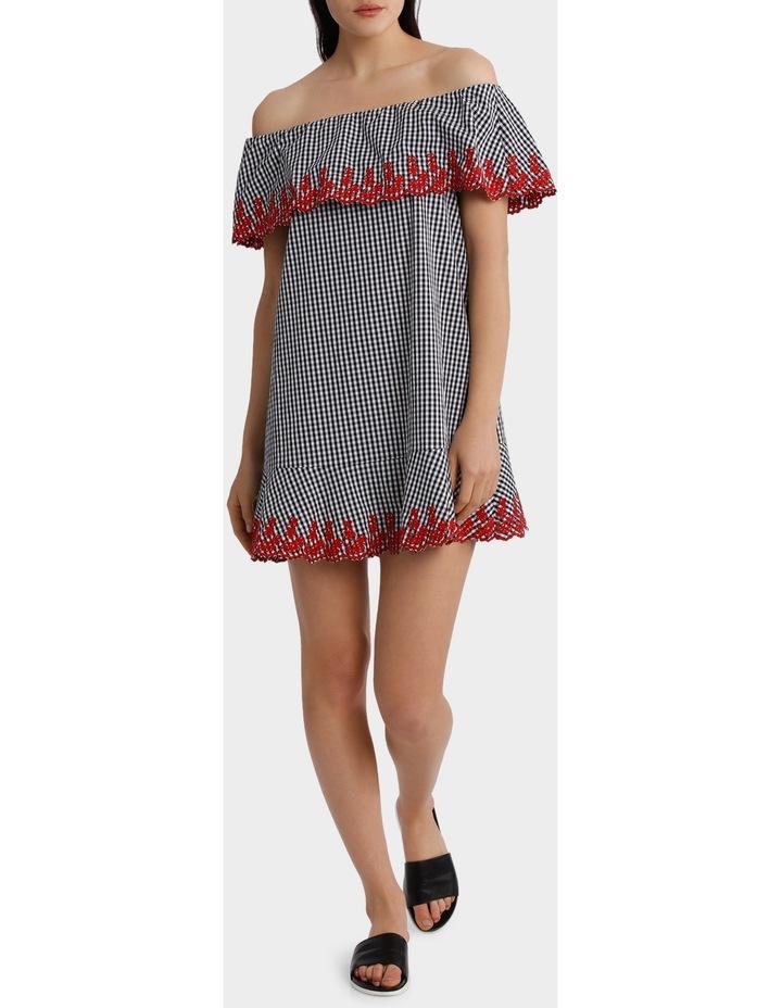 Gingham Embroidery Off Shoulder Dress image 1