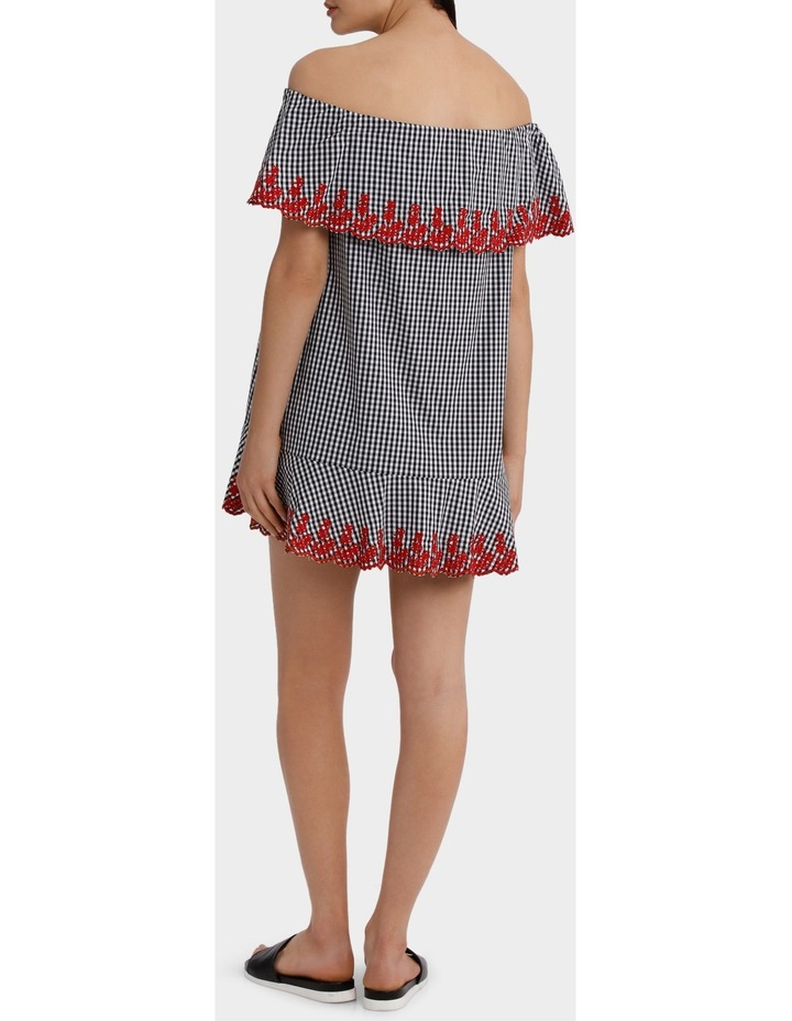 Gingham Embroidery Off Shoulder Dress image 3