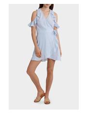Miss Shop - Ruffle Sleeve Wrap Front Dress