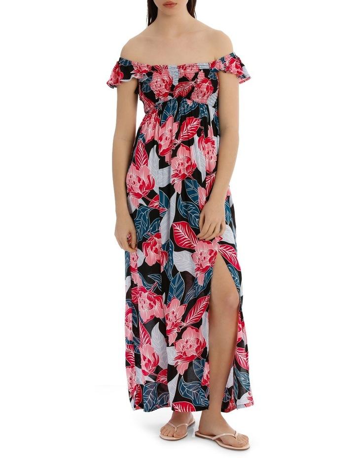 Shirred Off The Shoulder Maxi Dress image 1