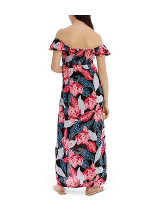 Miss Shop - Shirred Off The Shoulder Maxi Dress