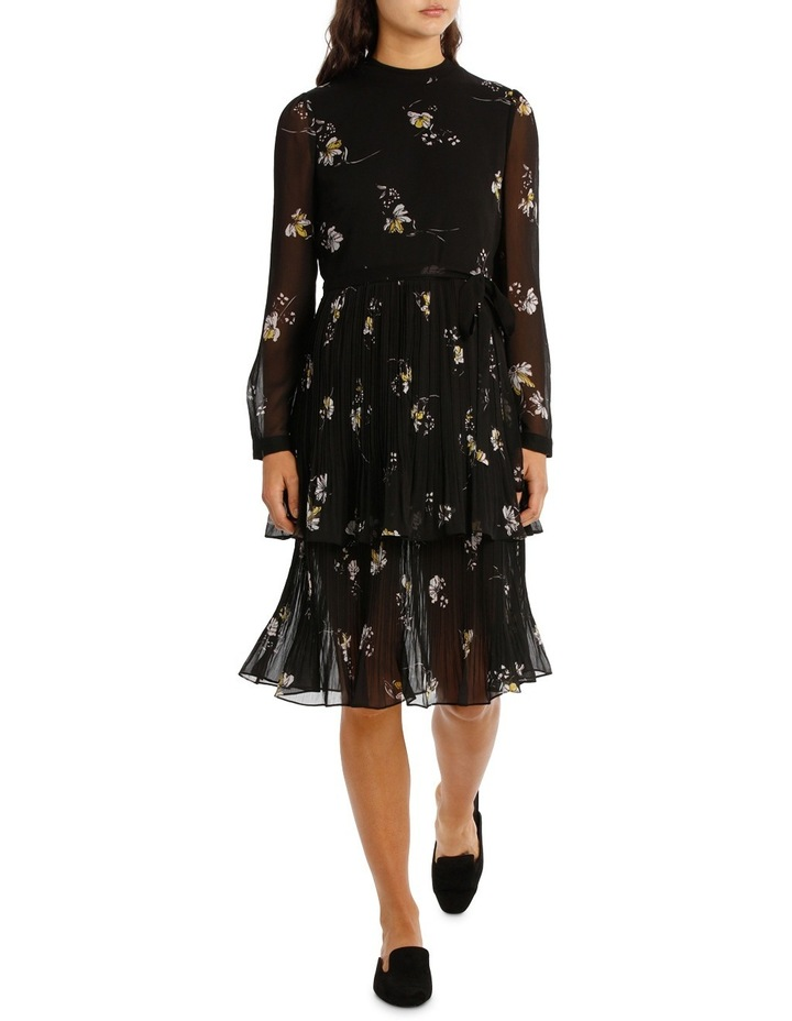 Printed Pleated Tiered Midi Dress MSCW18213. image 1
