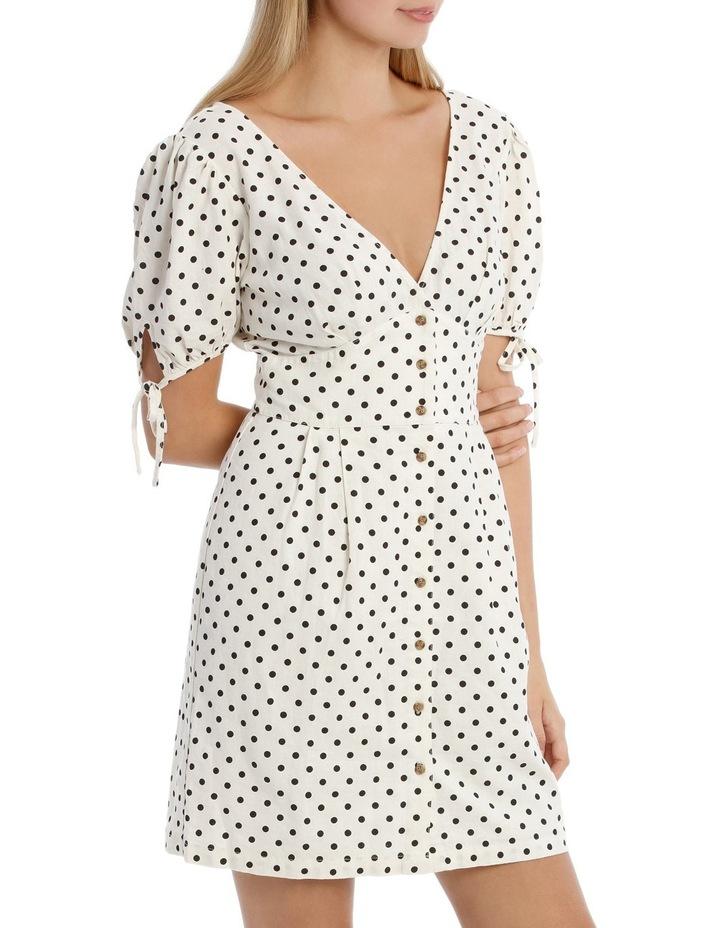 Linen Button Through Tie Sleeve Dress image 2