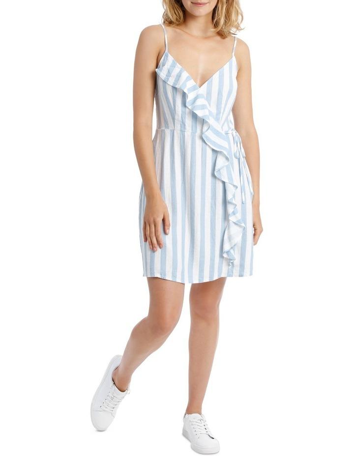 1fdfad7bcd Miss Shop   Ruffle Front Linen Blend Wrap Dress - Lt Blue Soft ...