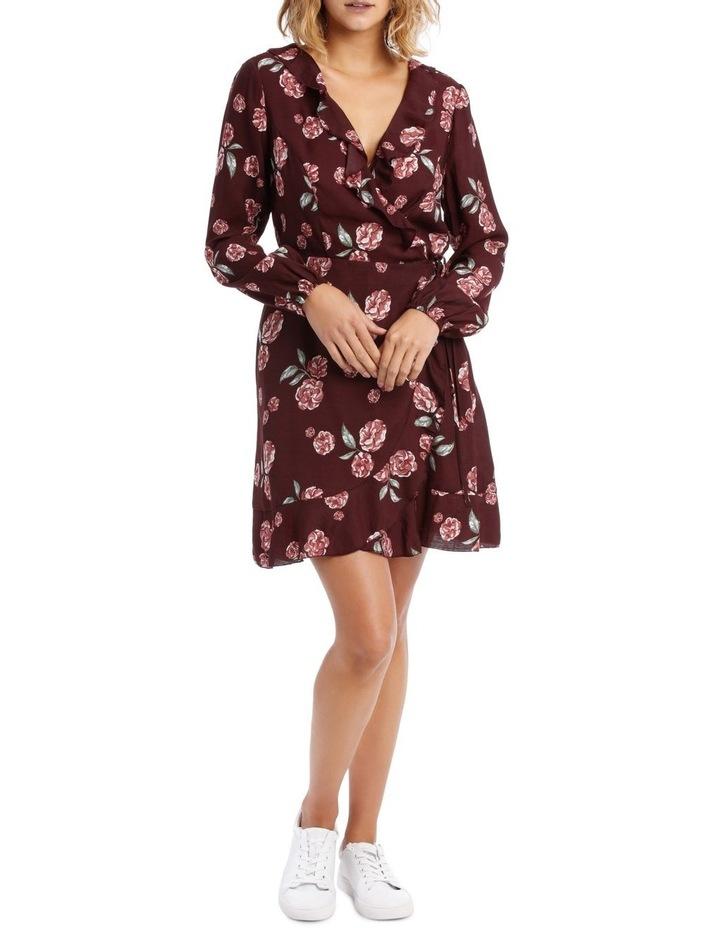 Long Sleeve Frill Wrap Dress image 1