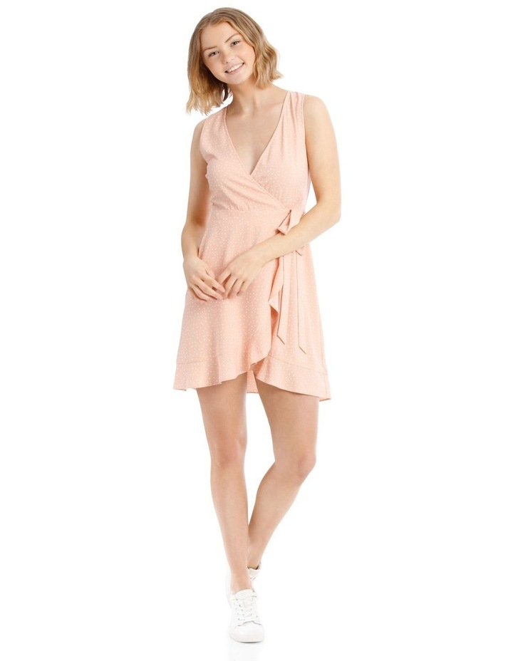 Dusty Peach Spot Frill Hem Wrap Dress image 1