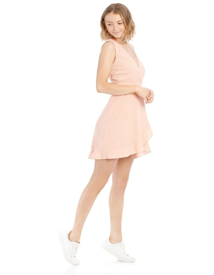 Dusty Peach Spot Frill Hem Wrap Dress image 2