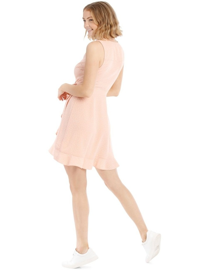 Dusty Peach Spot Frill Hem Wrap Dress image 3