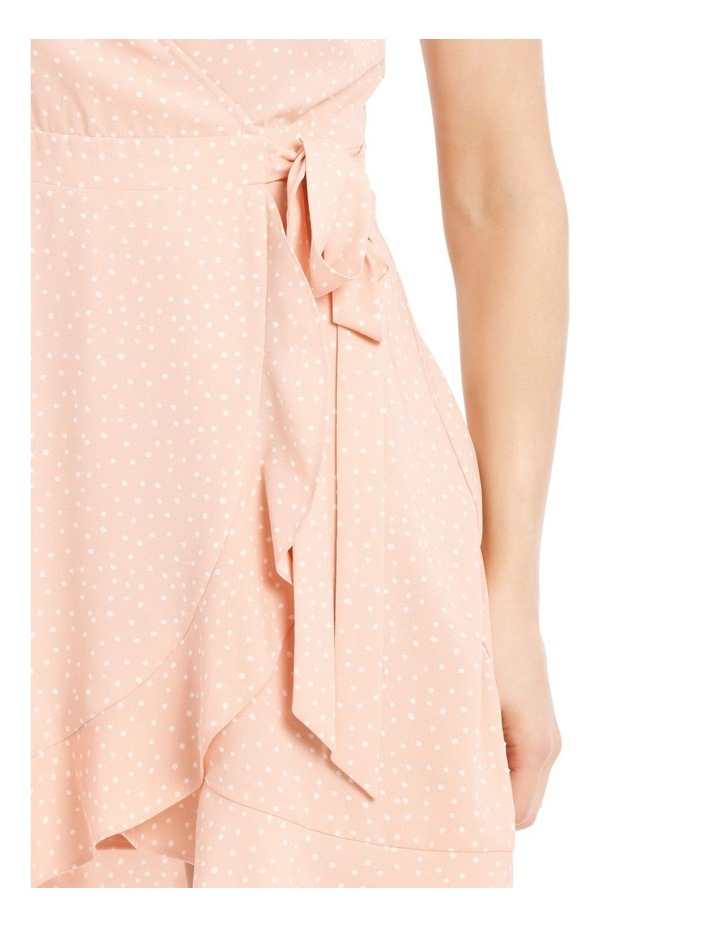 Dusty Peach Spot Frill Hem Wrap Dress image 4