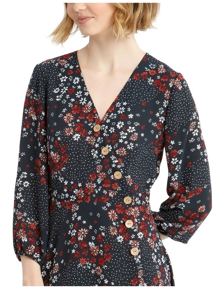 Button Side Detail Long Sleeve Wrap Dress image 4