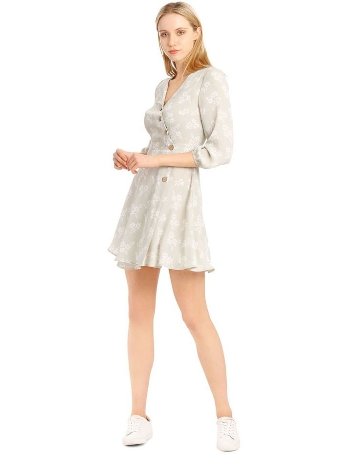 Button Side Detail Long Sleeve Wrap Dress image 1