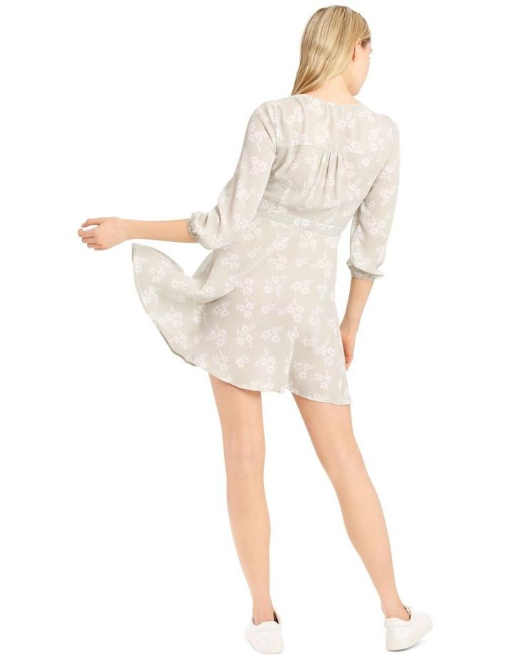 Button Side Detail Long Sleeve Wrap Dress image 3