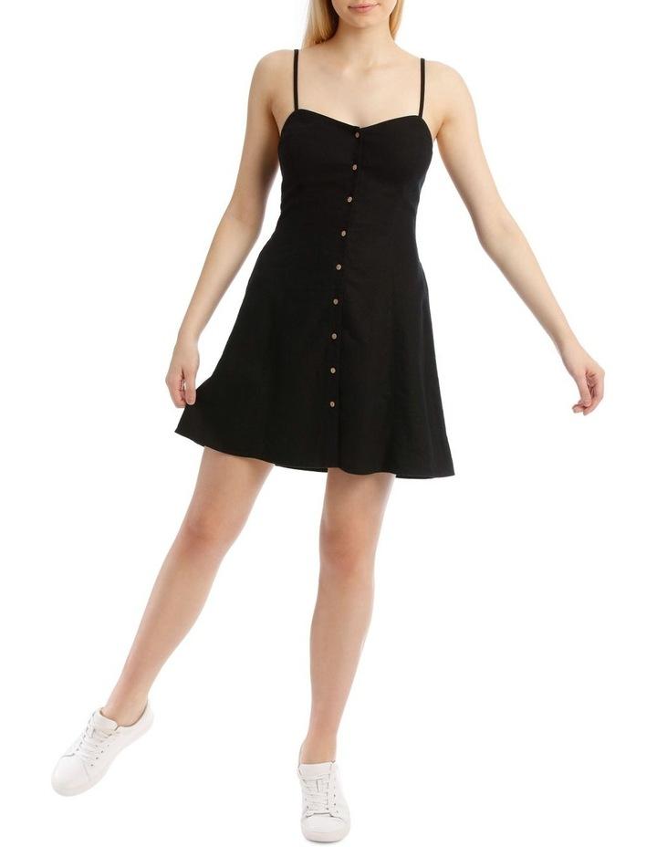 Linen Blend Button Detail Dress image 1