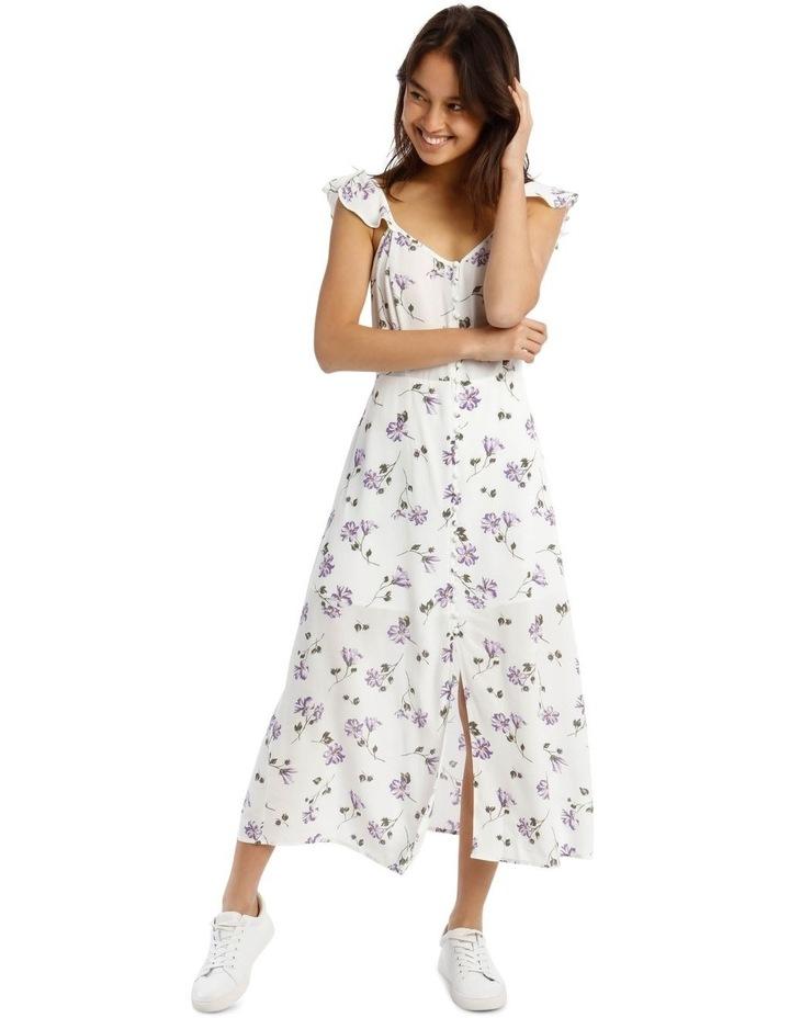 Cap-Sleeve Floral Midi Dress image 1