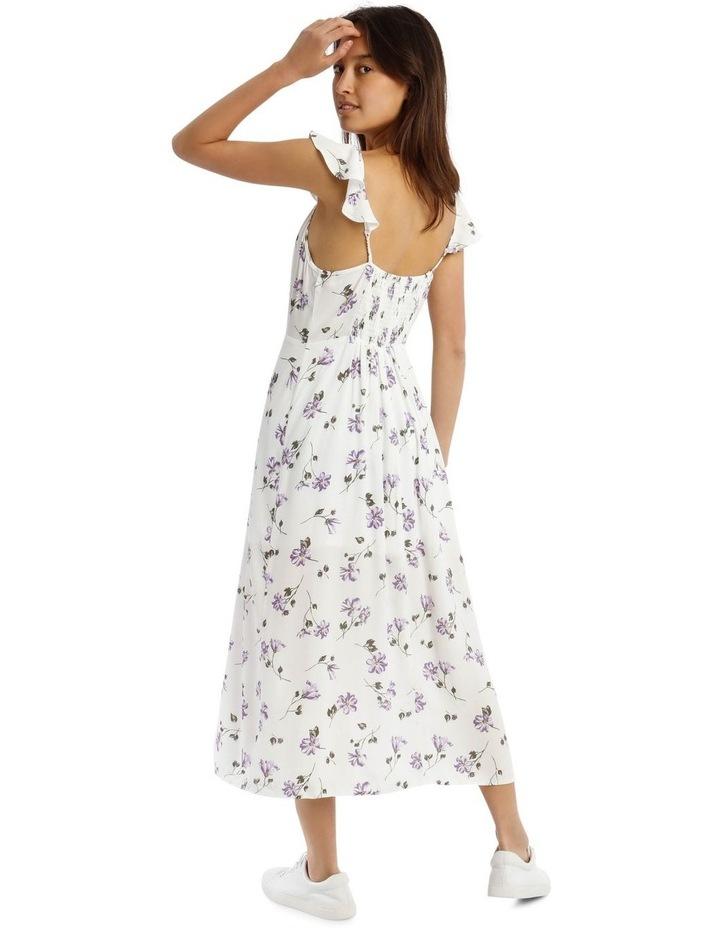 Cap-Sleeve Floral Midi Dress image 3