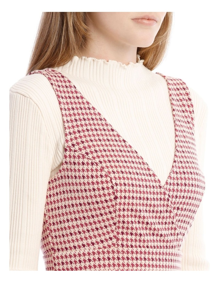 Sunset Red Houndstooth Dress image 4