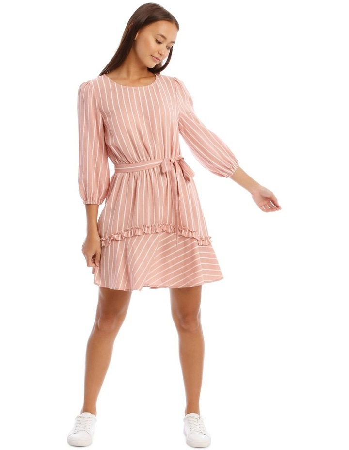 Tie Waist Pink Stripe Dress image 1