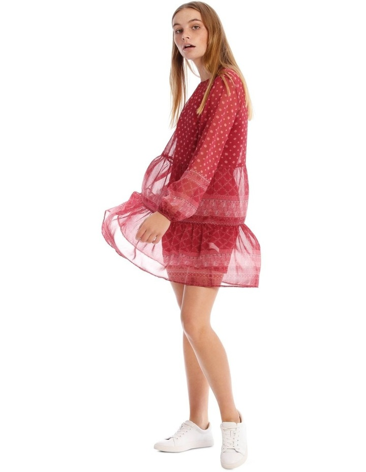 Sheer Long Sleeve Dress With Tie Back image 2