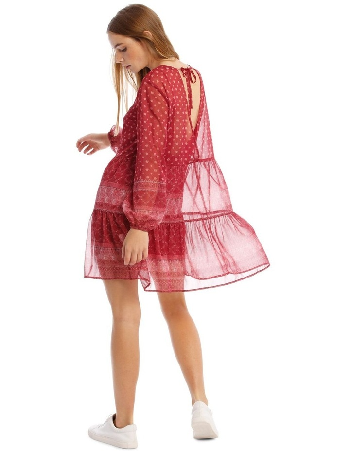 Sheer Long Sleeve Dress With Tie Back image 3