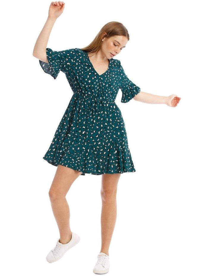 Godet Skirt Wrap Front Dress image 1