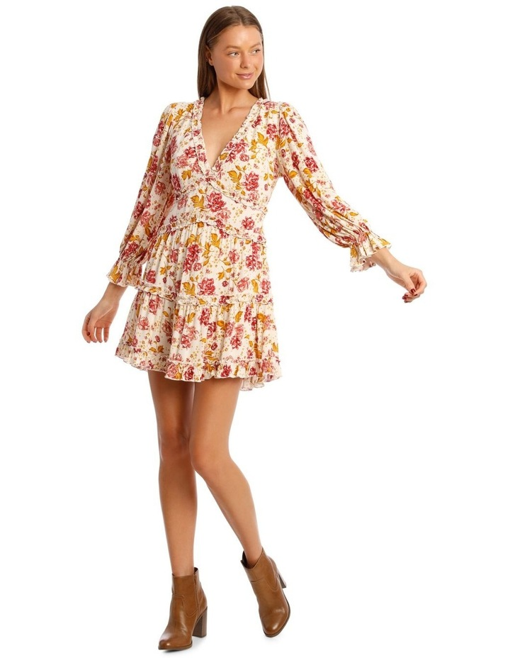 Long Sleeve Ruffle Tier V-Neck Dress image 1