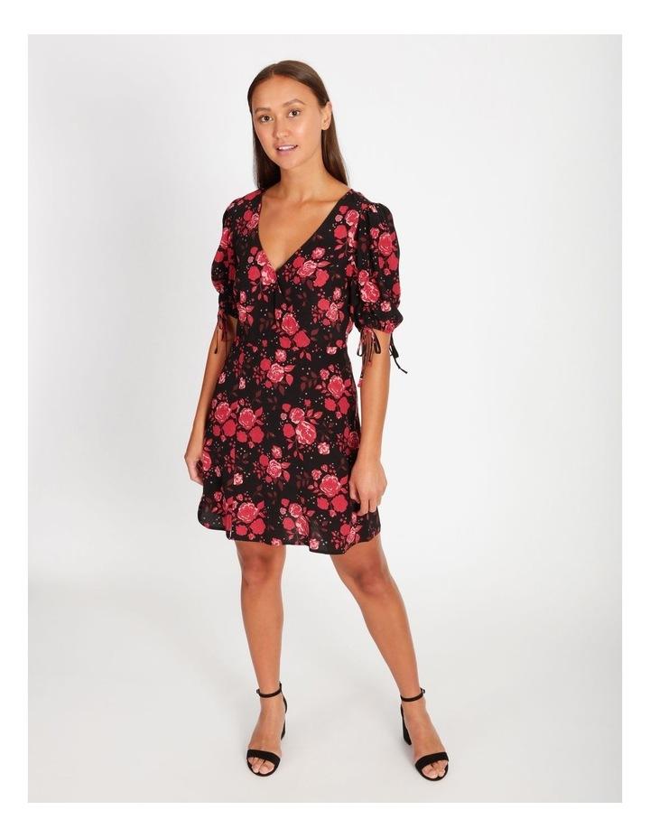 V-Neck Ruched Sleeve Dress image 1