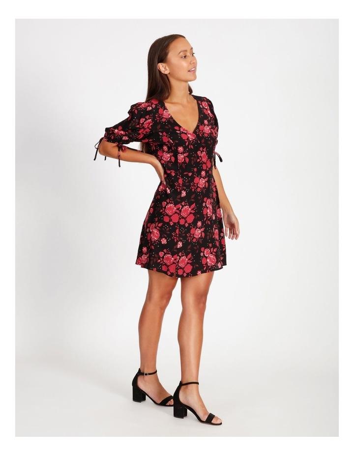 V-Neck Ruched Sleeve Dress image 2