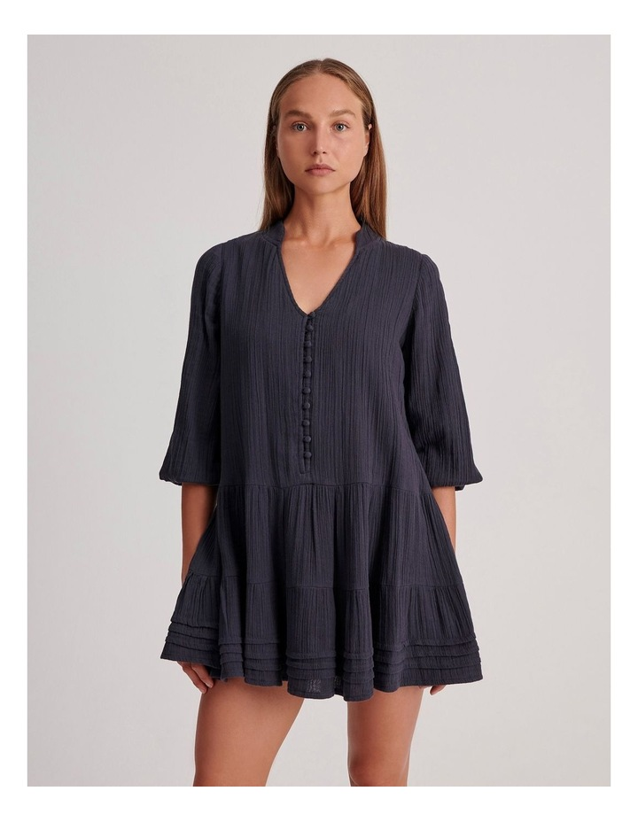 Double Cheesecloth Drop Waist Relaxed Tiered Dress image 1