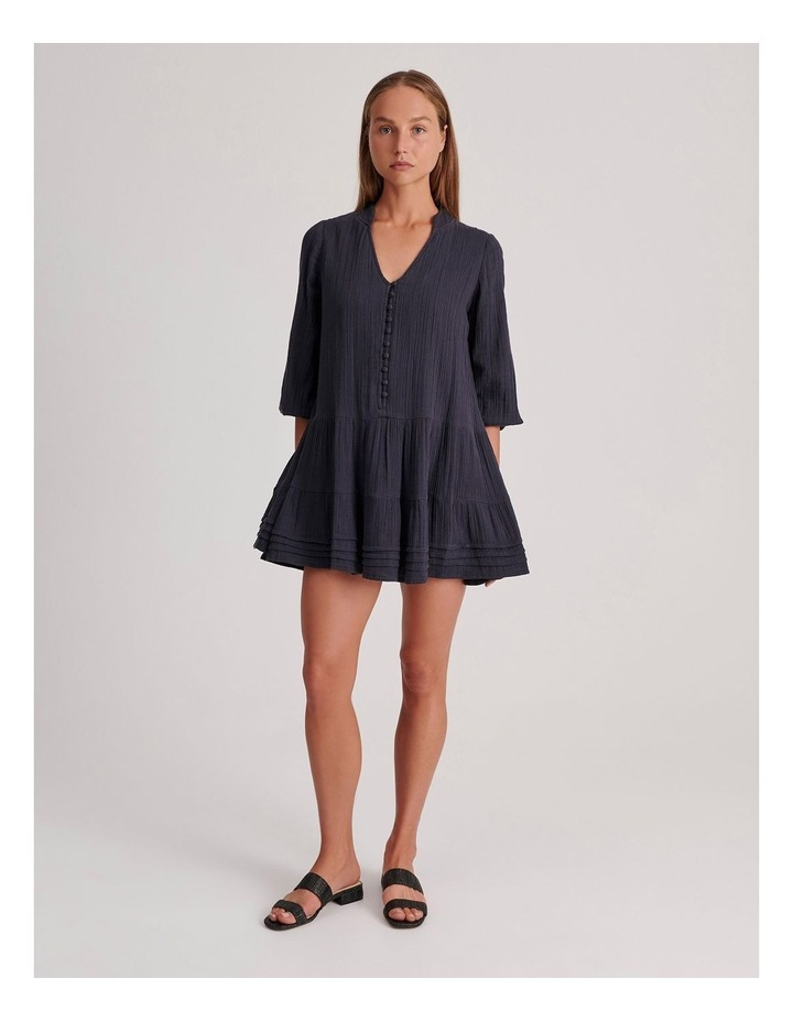 Double Cheesecloth Drop Waist Relaxed Tiered Dress image 2